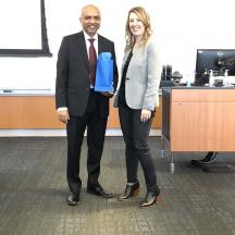Mohan Gopalakrishnan (Dr. G) Chair, Department of SCM, Arizona State University thanked by  Lauren Meyer, CAM-I Industry Chair, Project Manager, The Boeing Company